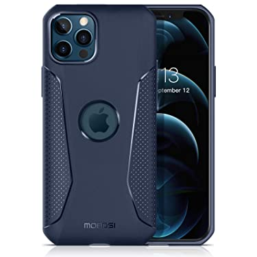 MOBOSI Net Series Compatible with iPhone 12 Pro Max Case (6.7 Inch),[Shock-Absorbing] [Scratch-Resistant] [Military Grade Protection] [Slim & Lightweight] Soft TPU Cell Phone Case (Navy Blue)