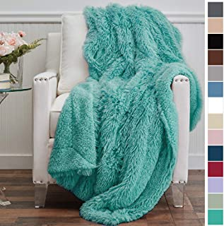 The Connecticut Home Company Luxury Shag Bed Throw Blanket, Queen or Full Size, 90x90, Super Soft, Large Wrinkle Resistant Reversible Blankets, Warm Hypoallergenic Washable Throws for Beds, Turquoise