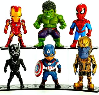 PETON Avengers Hero Set 6 Psc Action Figures Toys - Iron Man Hulk Spiderman Captain America Panther and Thanos Figures