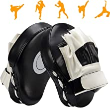 Valleycomfy Boxing Curved Focus Punching Mitts- Leather Training Hand Pads,Ideal for MMA Karate, Muay Thai Kick, Sparring, Dojo, Martial Arts