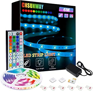 Ruban LED, CNSUNWAY LIGHTING RGB 6M LED Bande, 5050 Bandes Led Lumineuse avec IR Telecommande pour Maison, Chambre, Televi...