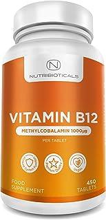 Vitamina B12 Metilcobalamina 1000mcg 450 Tabletas (Suministro para 15 Meses) | Reducción del cansancio y la fatiga y normalización de la función del sistema inmunológico