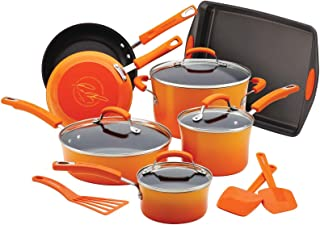 Rachael Ray Brights Nonstick Cookware Pots and Pans Set, 14 Piece, Orange Gradient
