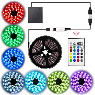 Abtong LED Strip Lights Battery Operated USB Powered LED Strip Battery Powered with RF Remote Waterproof RGB LED Strip Rope Lights Multi Color Changing 2M 6.56ft TV Backlight