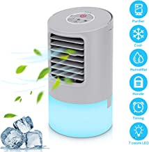 Portable Air Conditioner Fan,Personal Desktop Fan Mini Air Cooler Table Evaporative Ac Cooling Fan Noiseless Purifier Fresh Humidifier with Handle and 7 Colors Led Lights For Bedroom, Home, Car,Office