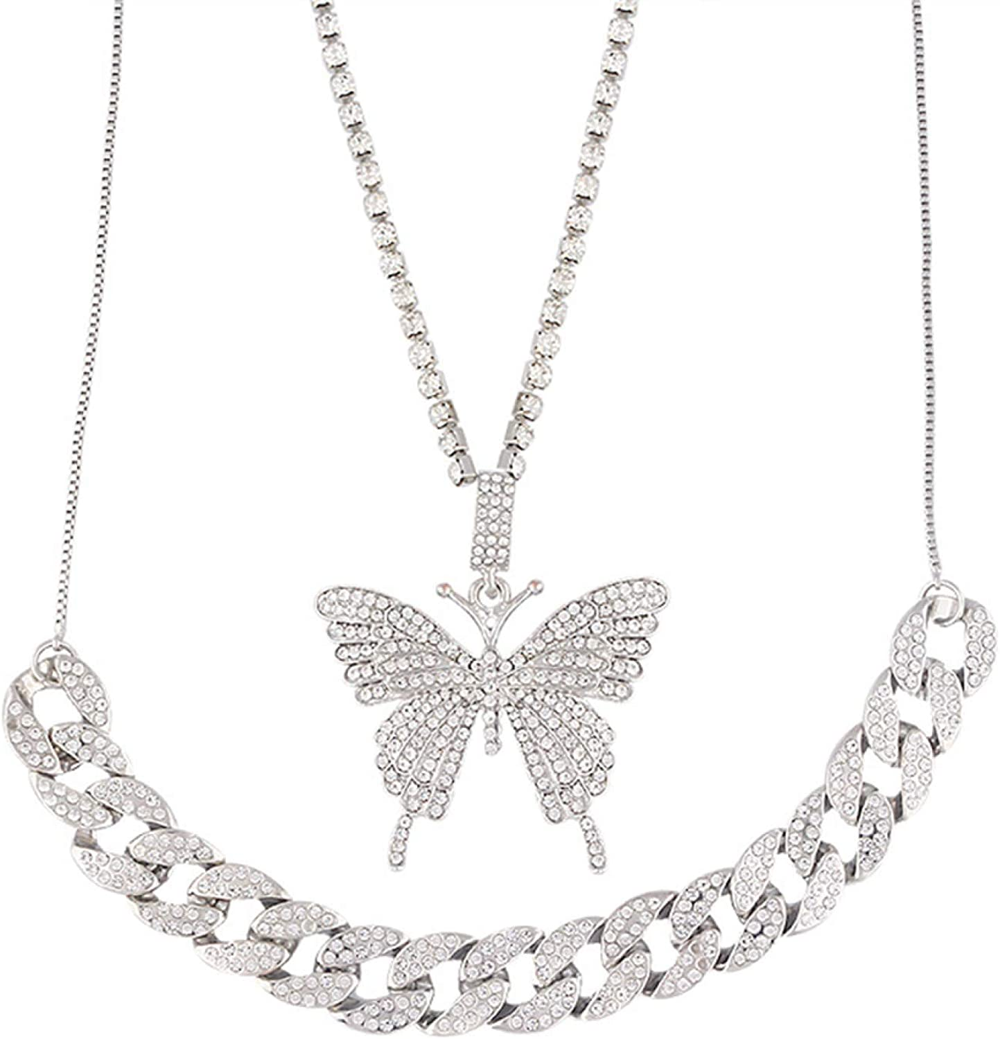 Double Layer Rhinestone Butterfly Pendant Chain Cuba Necklace Jewelry Gift for Women Girls Teens