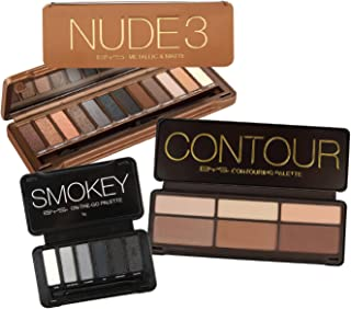 BYS Glam Collection with Smokey Eye palette, Contouring palette and Nude 3 eyeshadow palette kit, gift set, makeup set, makeup palette