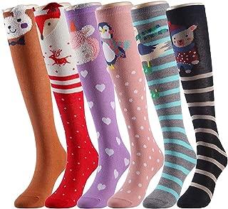 Cartoon Animal Cat Bear Fox Cotton over Calf Knee High Socks, 6 Colors, One Size