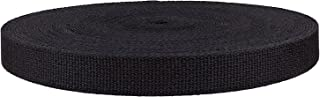 QIANF 1 Inch Black Heavy Cotton Webbing, 25 Yards