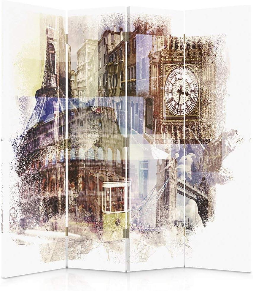 Feeby Frames Paravent d/éco Big Ben Impression 3 Panneaux Multicolore 110x150 cm