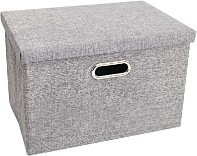 LUFOFOX Storage Box with Lids and Handles Natural Fabric Collapsible Storage Baskets for Closet Shelves Drawers (Gray,13X9.3X7.1 inch)