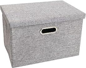 Gray Woven Collapsible Fabric Lidded Shelf Storage Bin Closet Organizer Box Basket (13×9.3×7.1 inch)