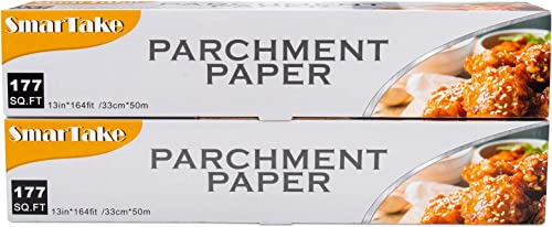 lowest SMARTAKE Parchment Paper, 2 Boxes popular of 13 in × 164 ft (354 Sq. Ft Total) Non-Stick Baking Parchment Roll, discount Baking Pan Liner for Kitchen, Air Fryer, Steamer, Cooking Bread, Cookies and More, White online sale
