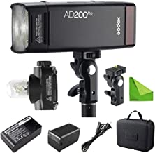 Godox AD200 Pro AD200Pro 200Ws 2.4G Flash Strobe, 1/8000 HSS, 500 Full Power Flashes, 0.01-2.1s Recycling, 2900mAh Battery, Bare Bulb/Speedlite Fresnel Flash Head