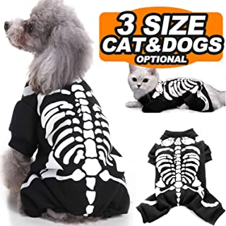 Camlinbo Thanksgiving Costumes for Pet Dogs Cats, Skeleton Scary Costumes Cosplay Doggie Dog Cat Shirts Dress up Thanksgiving Party Clothes