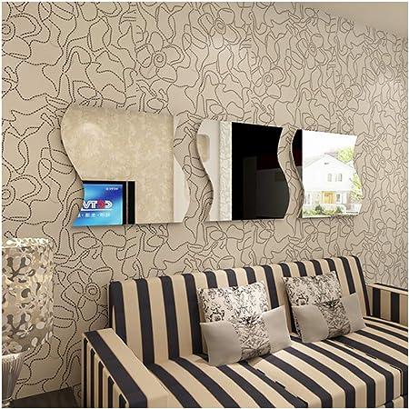 6 Piece Self-adhesive Mirror Tile Wavy Wall Sticker Decal Mosaic Room Decor