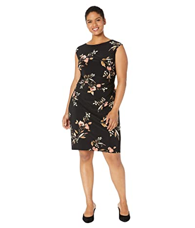 LAUREN Ralph Lauren Plus Size Novellina Dress (Black/Pink/Multi) Women