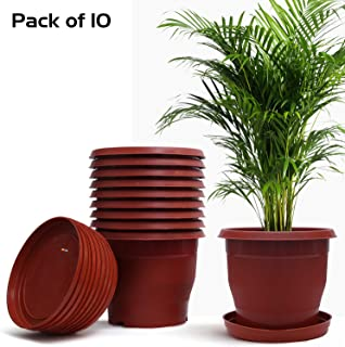 Livzing Flower Pot with Bottom Tray Set - Home Garden Office Plant Pot Balcony Flowering Planter (9-Inch, Brown, Pack of 10)