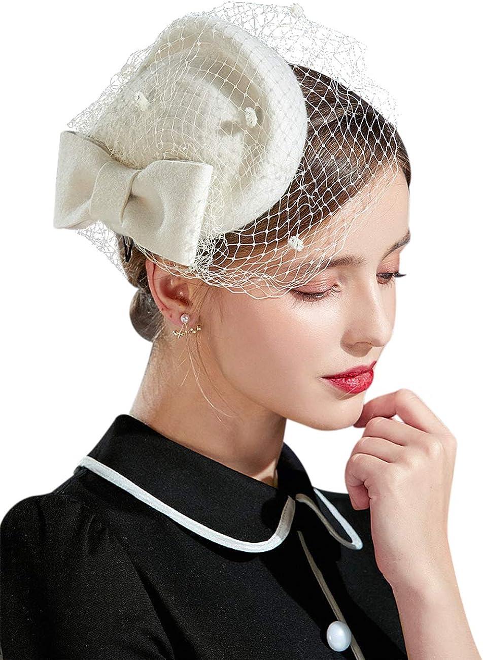 ELLYDOOR Wool Fasciantor Hat Winter Wool Felt Pillbox Hat for Women Wedding Church Hat Veil Bowknot Fedoras