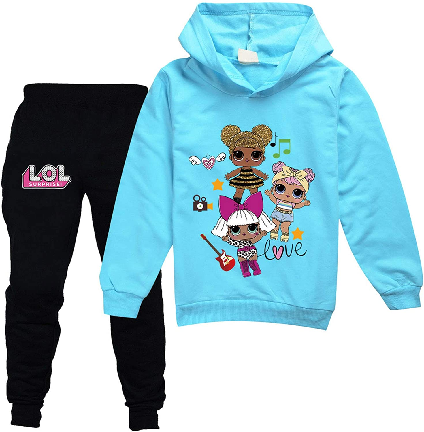 Cute Girls Hoodie Sweater and Sweatpants Tracksuit Sets for Kids Toddler Girl Clothes Set