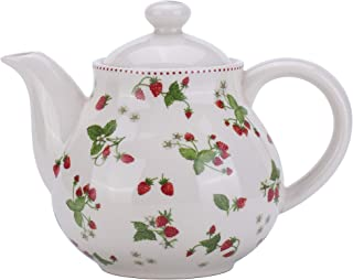 Lonovel Porcelain Teapots,Lovely Strawberry Design Tea Pot for Tea or Coffee,Ceramic Teapot with Lids,Home and Kitchen Dining Serveware Pot,Beige