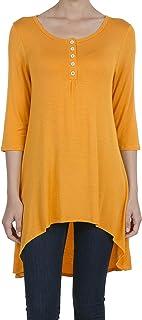 SHOP DORDOR Women's 3/4 Sleeve High Low T Shirt Dress Button Up Loose Casual Tunic Tops