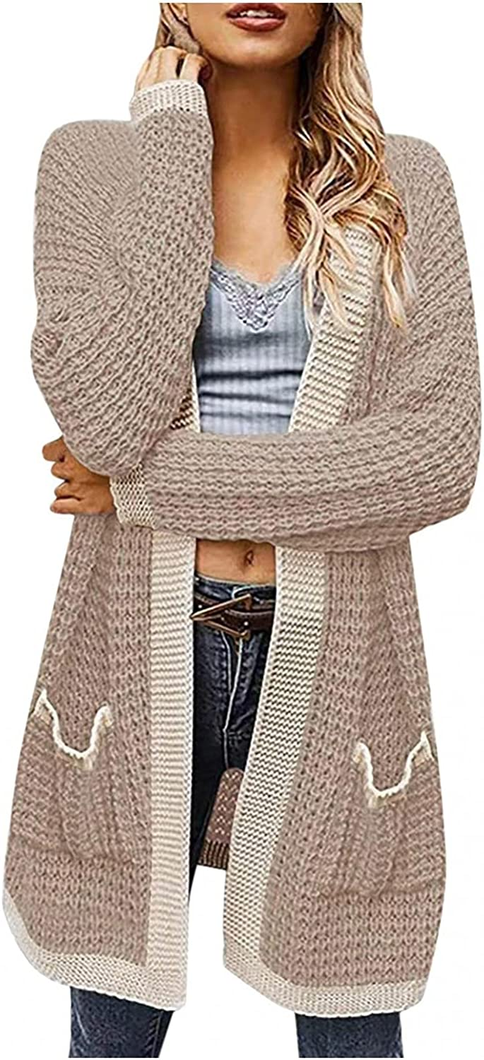 Womens Open Front Knit Cardigan Long Sleeve Oversized Sweater Chunky Waffle Cable Boho Pockets Casual Loose Coat