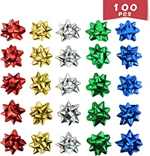 WTSHOP 100 Pieces 2'' Christmas Bows Self Adhesive Glitter,Gift Pull Bows,Christmas Wedding Valentine's Day Present Decoration Pull Bows