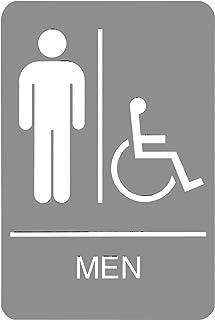 علامة هيدلاين 5218 ADA كرسي متحرك علامة مرحاض للرجال يمكن الوصول إليها مع رسم لمسية، 15.24 سم × 22.86 سم، رمادي فاتح/أبيض