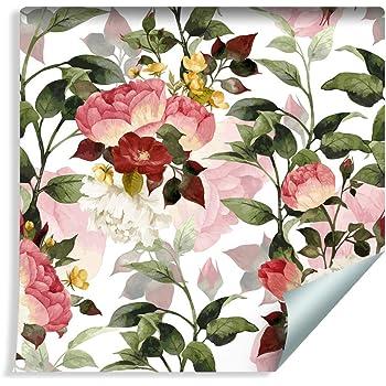 261283937 Muralo Papier Peint Magnifiques Fleurs Color/ées Vinyle Styl/é /Él/égante Fleuri