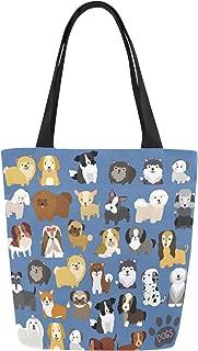InterestPrint Cute Dog Pattern Canvas Tote Bag Shoulder Handbag for Women Girls