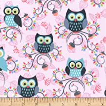 Michael Miller 0563129 Minky Fantasy Woods Little Happy Hooters Peony Fabric by the Yard