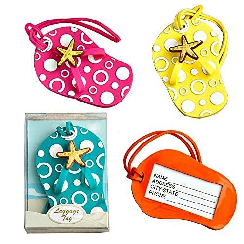 Colorful Unique Flip Flop Luggage Tags (Set of 4 in Blue, Yellow, Pink