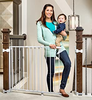 Regalo 2-in-1 Stairway and Hallway Wall Mounted Baby Gate, Bonus Kit, Includes Banister..