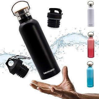 GONNADOO Botella de agua aislada de acero inoxidable de 25 onzas con 3 tapas, vacío, acero inoxidable aislado, agua calien...