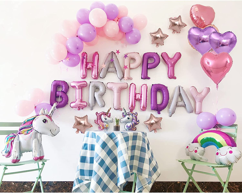 JINGANREN Unicorns Birthday Decorations For Girls,Princess Party Supplies,Birthday Decorations For Girls,unicorn balloons,Decor Favors With Letters Birthday Banner,Various 3D Unicorns Rainbow Balloons,4Pcs 18