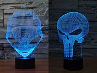 Pack of 2 Alien & Punisher Skull 3D Illusion Nightlight Lamps, 7 Colors Gradual Changing Lighting Table Desk Lamp for Home Decor - Best Gift for Kids/Friends/ Birthdays/Holidays