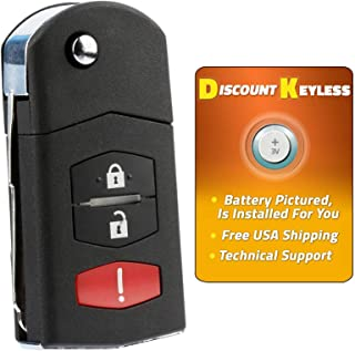For 11-15 Mazda 2, 06-15 Mazda 5, 07-12 CX-7, 07-15 CX-9 Keyless Entry Remote Flip Key Fob SKI12501, BGBX1T478SKE125-01, 662F-SKE12501