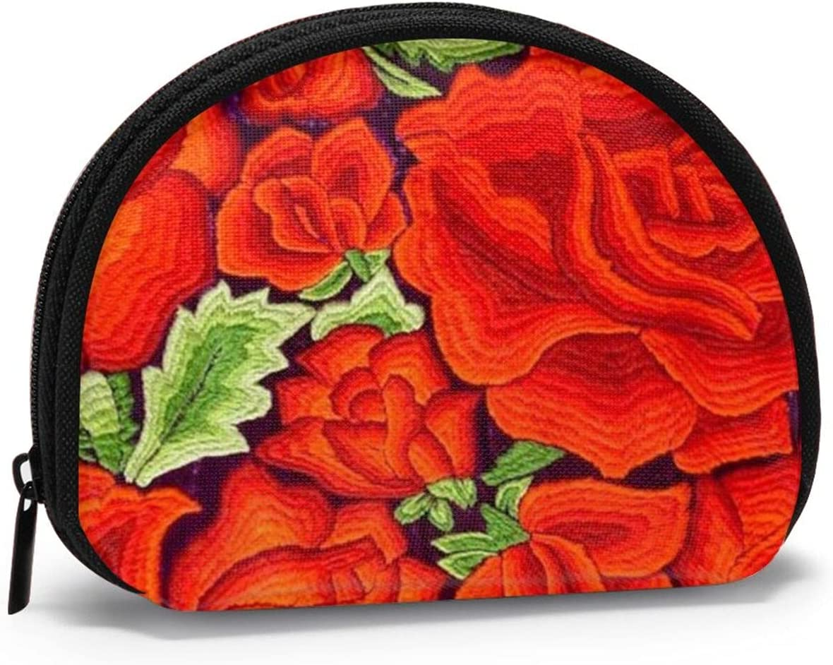 small zipper Coin Purses Vintage zipper Pouch Change Purse Wallets Pretty Mexican Floral Embroidery Image Of Roses