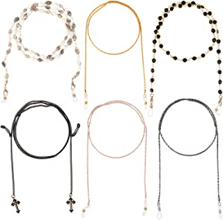 MoKo Chaîne pour Lunettes Femme [Lot de 6], Chaînes Lunettes Élégantes Sangle de Lunettes de Soleil en Perles Chaîne de Re...