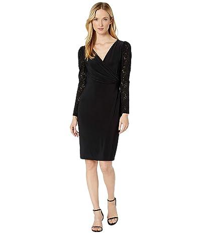 LAUREN Ralph Lauren Jersey Lace-Sleeve Dress (Black) Women