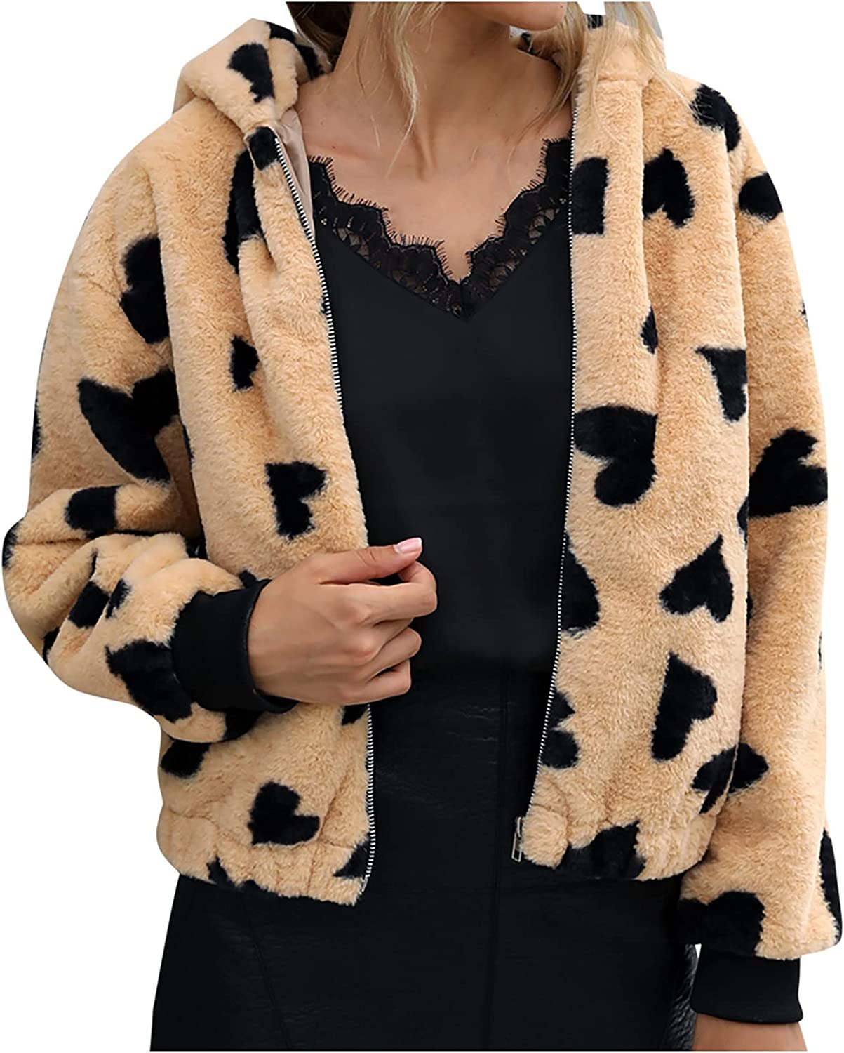 Winter Coats for Women Ladies Warm Faux Furry Coat Jacket Winter Hooded Hearted-Print Outerwear Long Sleeve Soft Tops
