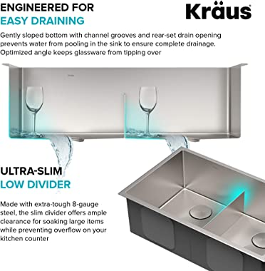 KRAUS KWU112-33 Kore Workstation 33-inch Undermount 16 Gauge Double Bowl Stainless Steel Kitchen Sink with Integrated Ledge a