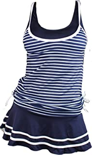 MiYang Women's Tankini Sets with Striped Vintage Boyshort Two Pieces Swimsuits Swimwear Swim Dress Navy and White XXL