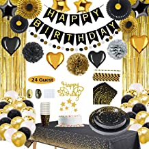 Black and Gold Party Decorations Supplies, Birthday Decorations For Men Women,Happy Birthday Banner, Curtains, Table Runne...
