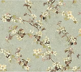 York Wallcoverings TB4217 Charlotte Apple Blossom Trail Wallpaper, Aqua, Beige, Brown, Grey/Green, Cream, Purple