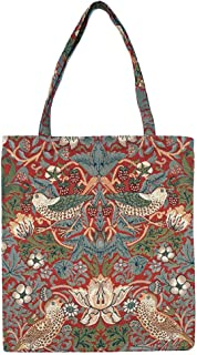 Signare Tapestry Reusable Grocery Eco Friendly Shopping Tote Bag in William Morris Design (Strawberry Thief Red)
