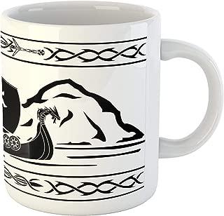 Lunarable Viking Mug, Ornate Frame with Drakkar Sailing Before Mountains Scandinavian Naval Illustration, Ceramic Coffee Mug Cup for Water Tea Drinks, 11 oz, White and Black