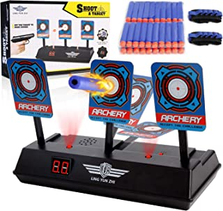MASCARRY Electric Scoring Auto Reset Shooting Digital Target for Nerf Guns Blaster Elite/Mega/Rival Series with 40 Pcs Refill Darts and 2 Hand Wrist Bands