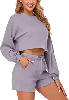 SEVEGO Women's Lounge Set 2 Piece Pajamas Sets Sleepwear Long Sleeve Crop Top and Shorts with Pockets Sweater Sweatsuit